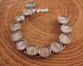 Typewriter Key Jewelry - Authentic Off White RARE Glass Top Typewriter Key Bracelet - Math, Accounting, Numerology, Punctuation Keys