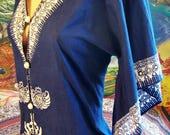 Vintage Caftan, Batik Caftan, Blue + white Caftan, Angel sleeve maxi, Hostess Caftan, Festival dress, size M / L