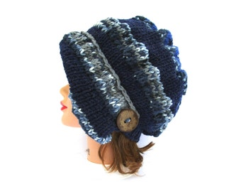 Cloche Hat in Navy Heather and Ocean Print - Knit Hat With Button - Women's Cloche - Flapper Hat - Asymmetrical Cloche - 1920s Cloche Hat