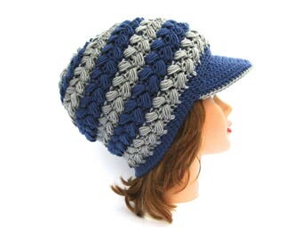Crochet Newsboy Cap - Blue Gray Hat With Brim - Brimmed Beanie - Women's Hat - Slouchy Cap - Crochet Accessories