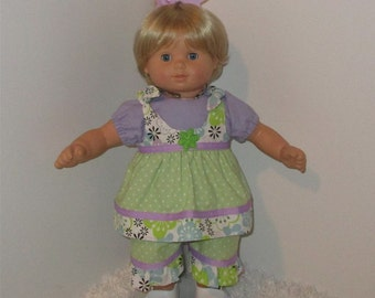 """Lavender and Green 3-Piece Capri Set, Fits 15"""" Bitty Dolls // Bitty Girl Clothes, Twin Pants, Girl Doll Capris, American Girl Clothes, AG"""