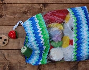 Blue and Green Chevron Peekaboo Toy Storage Bag Size Medium