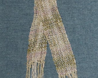 Handwoven Women's Rayon Scarf. Pink, Olive Green & Off White