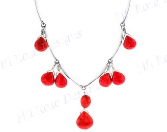 "1 1/8"" Gorgeous Red Coral 925 Sterling Silver Necklace"