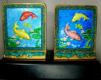Chinese Cloisonne CARP Bookend Pair, 1980s Chinoiserie, Asian Money Bringer, Fortune, All Brass, Color Different on Each, Same Scene