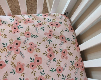 Fitted Crib Sheet or Changing Pad Cover - Pink Floral - Baby Girl Crib Sheet