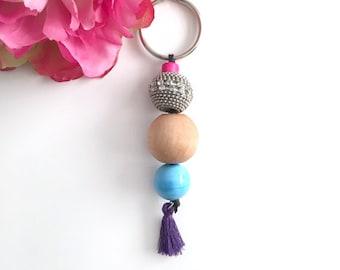 beaded tassel keychain - color beads keychain - bag charm keychain - bohemian accessory - women's gift