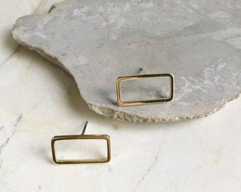Gold Rectangle Studs. Brass Studs. Simple studs. Small Earrings. Modern Minimal. Minimalist Earrings. Golden Brass Studs. Silver Posts.