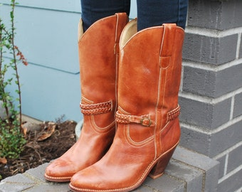Vintage Brown Leather Western Cowgirl boots