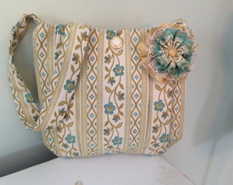 Vintage Tapestry Bag with Flowers