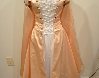SALE! Legend Gown, Princess, Costume, Renaissance, Medieval, Festival, Fantasy, Pink Satin Dress, White Silky, Handmade, Two Piece, Lacing