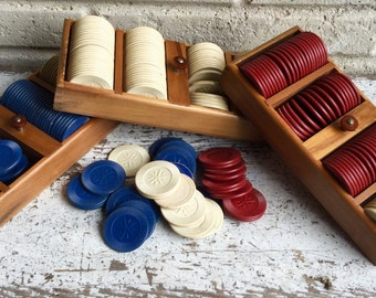 Vintage, Poker Chips, in Wooden Trays, with Bakelite Knobs