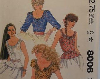 Misses' Boho Tops McCall's 8006 Sewing Pattern Romantic Poets Blouse, Long or Short Sleeves Scoop Neckline Top Size 12 Bust 34 UNCUT Destash