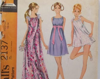Misses' Baby Doll Pajamas with Bloomers, Long or Short Nightgown Pyjama  McCall's 2137 Sewing Pattern 60's Retro Lingerie, Size 12 - 14