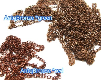 T204*Gold Plated *Antique Bronze / 1meter / 5meter / link 2.5x2.1mm - Petite Closed-Linked Cable Chain Findings.