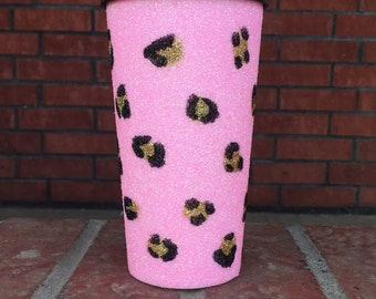 Glittler Travel Mug / Tumbler/ Leopard / Cheetah / Pink Glitter / Coffee / Leopard Mug / Gift / Pink Leopard