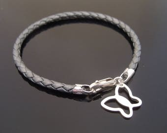 3mm Metallic Grey Braided Leather Bracelet With 925 Sterling Silver Butterfly Charm