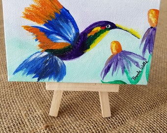 """Sweet Hummingbird - a 5""""x3"""" tiny painting with easel"""