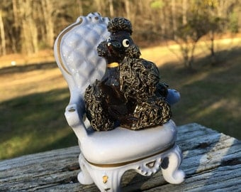 Vintage  Spaghetti French Poodle Dog Sitting in Easy Chair--Black Poodle--Made in Japan--Cottage Chic--Mid Century--Little Girls Room Decor