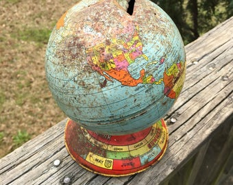 J Chein Giant Globe Bank--Vintage Pressed Tin Litho Piggy Bank--World Earth Metal Toy--Rusty Shabby--Union of Soviet Socialist Republic