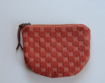 Rust Circles Padded Round Zipper Pouch / Coin Purse / Gadget / Cosmetic Bag - READY TO SHIP