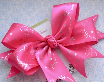 M2M Kitty XL Diva Bow Hot Pink with Silver