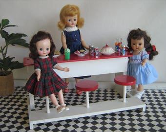 Vintage Doll Furniture - HALL'S LIFETIME TOYS Wooden Soda Fountain Bar in 1:6 Scale