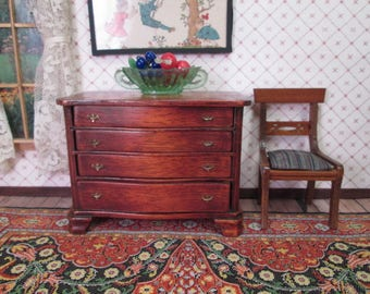 """Vintage Wooden Dollhouse Furniture - Dresser and Chair - 1"""" Scale"""