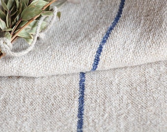 B 790 : antique handloomed BRIGHT BLUE 리넨 grain sack for pillows cushions runners upholstering projects 42.52 inches long