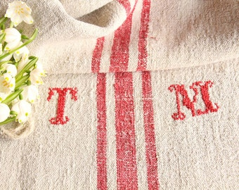 B 934: antique grain sack 리넨 FADED FRENCH RED 42.52 long,holiday feeling pillow cushion, decoration, french lin tablerunner, upholstery