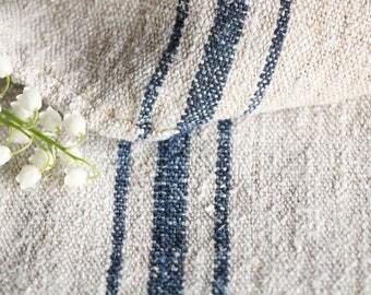 E 230 A : antique handloomed FADED INDIGO BLUE ;  grainsack pillow cushion runner 44.88 long wedding, french lin,wedding, spring, vintage