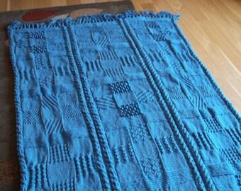 Knit Blanket/Afghan in Country Blue, Afghan, Blanket, Throw