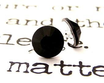 Jet Swarovski crystal stud earrings, 7mm jet black crystal posts, matte black rhinestones
