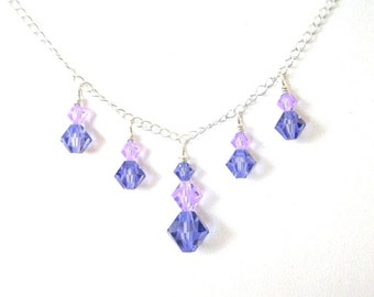 Purple crystal necklace, Swarovski tanzanite and lavender, sterling silver