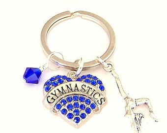 Gymnastics keychain, blue heart charm keyring, gift for gymnast, handstand, blue crystal, gift for athlete, present for her, key fob, purse