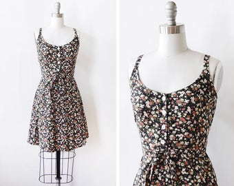 90s floral dress, vintage 1990s grunge mini dress, black floral dress, boho babydoll dress, medium m