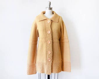 vintage 70s cardigan, butterscotch yellow cardigan sweater, 1970s chunky knit button boho sweater jacket, extra large xl