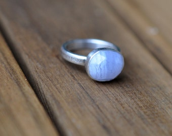 Sterling Silver Blue Lace Agate Ring, Oxidised Sterling Silver Stacking Ring, Rustic Gemstone Metalwork Ring