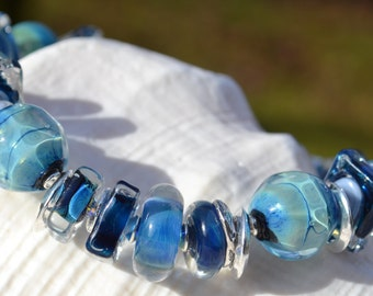 BLUE SKIES-Handmade Lampwork and Sterling Silver Bracelet