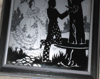 Silhouettes  Drawing Art Deco Pictures Hearts Painted on Glass Deltex Co Sweethearts 1933 set of 2
