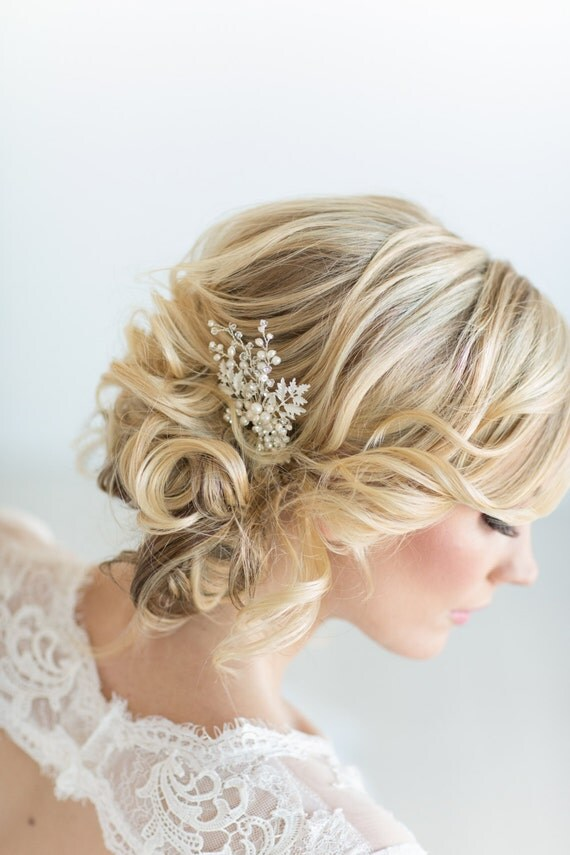 Wedding Hair Pin Pearl And Crystal Bridal Hair Pin Silver