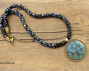 Dark Blue Beaded Necklace Pendant