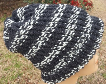 Dark Gray Bone Striped Ski Toboggan - OOAK MWL by an EtsyMom