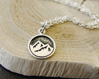 Mountain Necklace,Sterling Silver Necklace,Earth Element,Camping,Hiker Gift,Minimalist,Gifts for Her,The Mountains are Calling and I Must Go