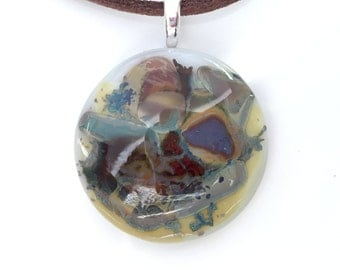 Fused Glass Pendant Necklace - Brown Fused Glass Pendant Necklace - Organic Glass Jewellery - Organic Pebble Glass - EP 541