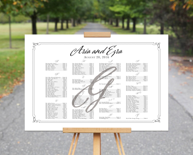 Printable Seating Chart, ARIA+EZRA, Seating Printable, diy Weddings ...