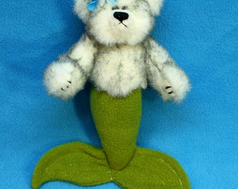 White and GreenMer-Bear from recycled plush