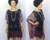indigo mon -- vintage fabric batik mumu caftan mini dress Size S/M/L