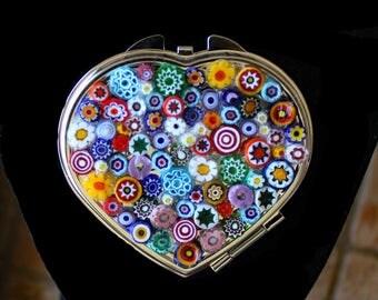 Italian Millefiori Heart Shaped Compact Mirror