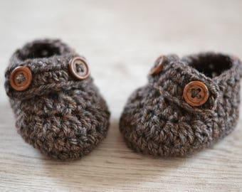 Newborn Brown Tweed Boys Crochet Loafer Baby Shoes